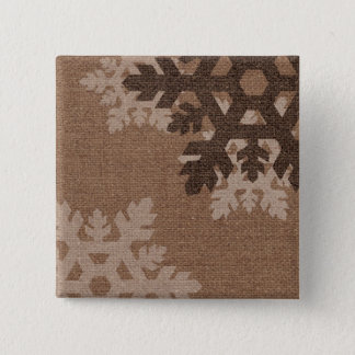 Snowflakes Rustic Country Style Faux Burlap Pinback Button