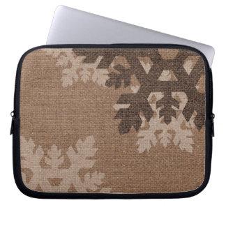 Snowflakes Rustic Style Faux Burlap Accessory Laptop Sleeve