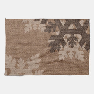 Snowflakes Rustic Stylish Faux Burlap Chic Holiday Kitchen Towel