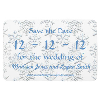 Snowflakes Save the Date Magnets