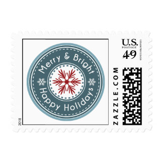 snowflakes seal festive winter holiday stamp
