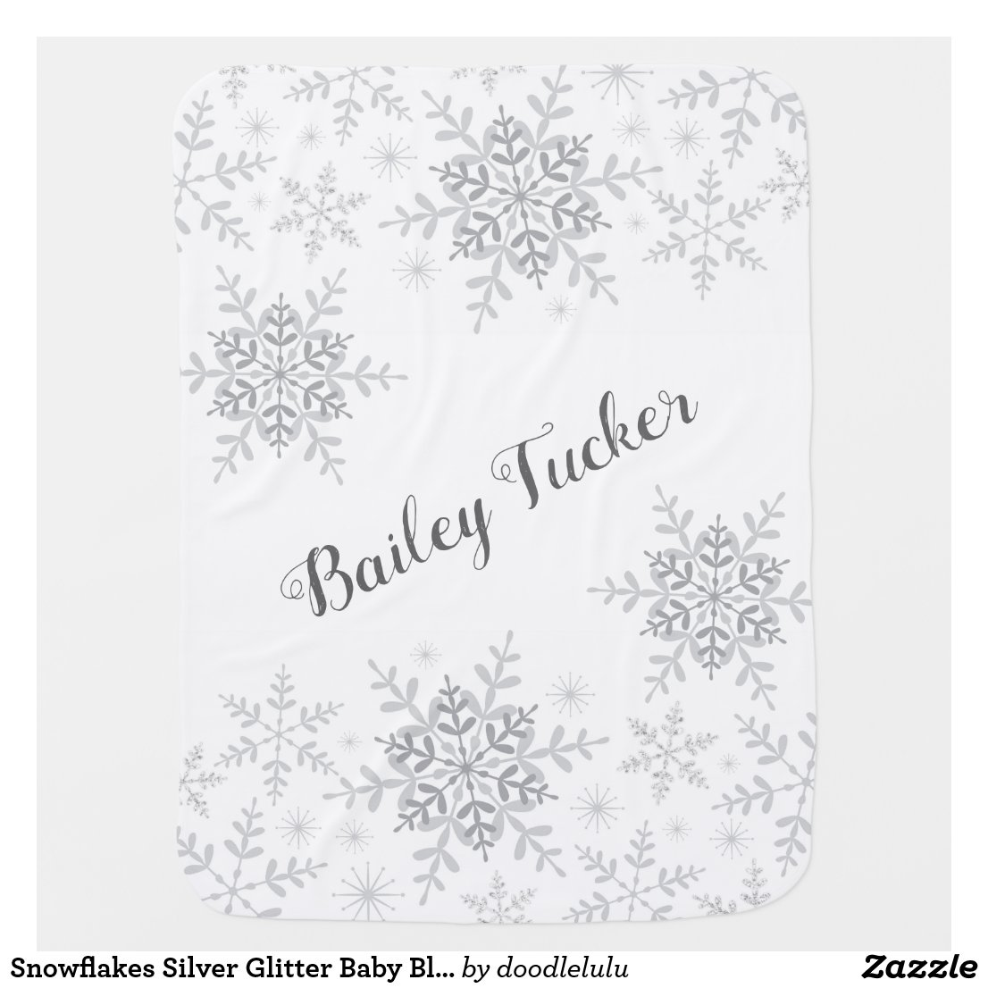 Snowflakes Silver Glitter Baby Blanket