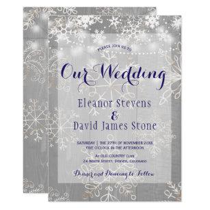 Snowflakes Silver Lights Winter Wonderland Wedding Invitation