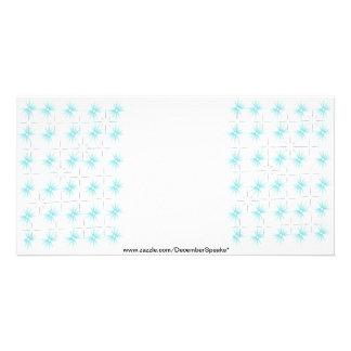 Snowflakes-silver/sky blue custom photo card