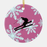 snowflakes skiing Double-Sided ceramic round christmas ornament