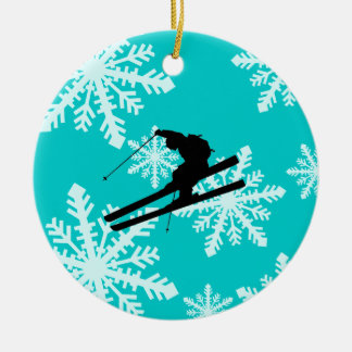 snowflakes skiing christmas ornament