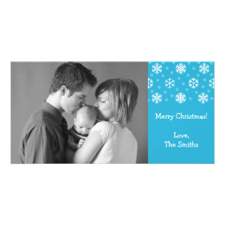 Snowflakes Snow Christmas Photocard Blue Photo Cards