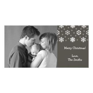 Snowflakes & Snow Christmas Photocard (Dark Gray) Customized Photo Card