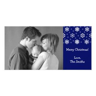 Snowflakes Snow Christmas Photocard Navy Blue Photo Cards