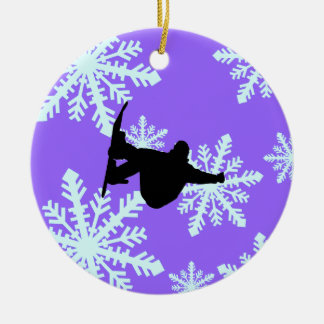 snowflakes snowboarding ceramic ornament
