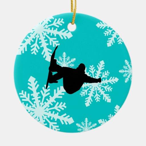 snowflakes snowboarding ornaments