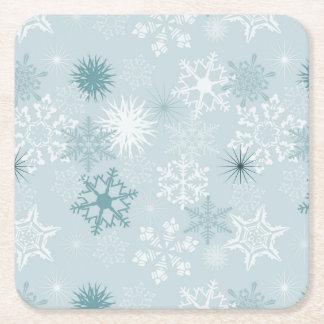 Snowflakes Square Paper Coaster