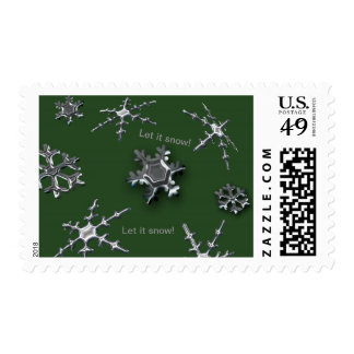 Snowflakes Stamp (green background)