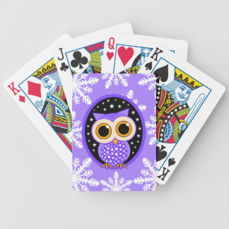 snowflakes stars purple owl bicycle playing cards