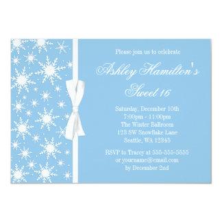 Snowflakes Sweet 16 Winter Wonderland Blue 4.5x6.25 Paper Invitation Card