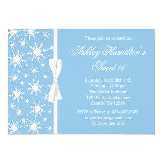 Snowflakes Sweet 16 Winter Wonderland Blue 5x7 Paper Invitation Card