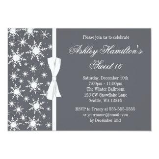 Snowflakes Sweet 16 Winter Wonderland Gray 5x7 Paper Invitation Card