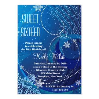 """Snowflakes Sweet 16 Winter Wonderland Invitation 5"""" X 7"""" Invitation Card"""