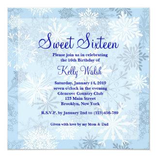 "Snowflakes Sweet 16 Winter Wonderland Invitation 5.25"" Square Invitation Card"