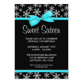 Snowflakes Teal Bow Winter Wonderland Sweet 16 Card