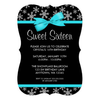 "Snowflakes Teal Bow Winter Wonderland Sweet 16 5"" X 7"" Invitation Card"