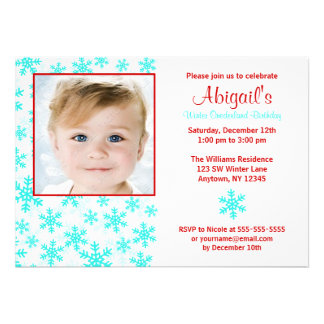 Snowflakes Teal Red Winter Onederland Birthday Personalized Invite
