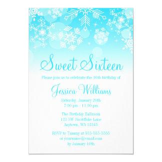 Snowflakes Teal White Winter Wonderland Sweet 16 5x7 Paper Invitation Card