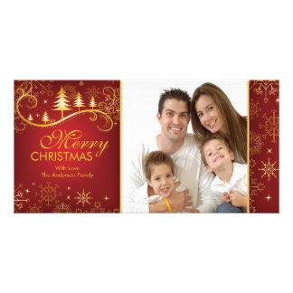 Snowflakes & Trees Merry Christmas Family Photo Card