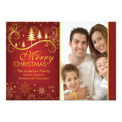 Snowflakes & Trees Merry Christmas Photo Card Custom Invitation
