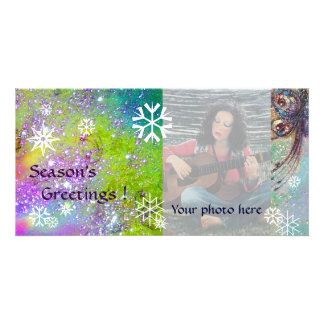 SNOWFLAKES,violet,green,blue,white Card