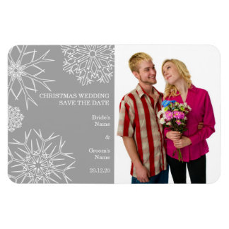 Snowflakes Wedding Photo Magnet - Custom