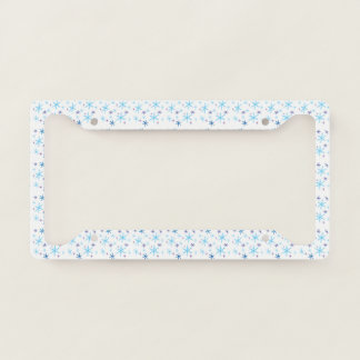 Snowflakes White Blue License Plate Frame