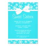 Snowflakes White Bow Winter Wonderland Sweet 16 Cards