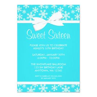 Snowflakes White Bow Winter Wonderland Sweet 16 5x7 Paper Invitation Card