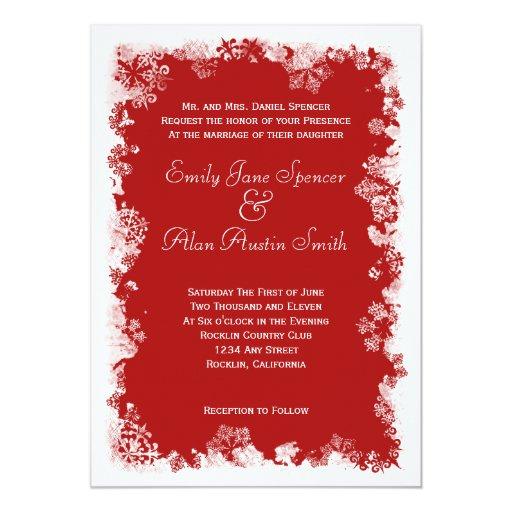 Snowflakes & White Holiday Tree Wedding Invitation