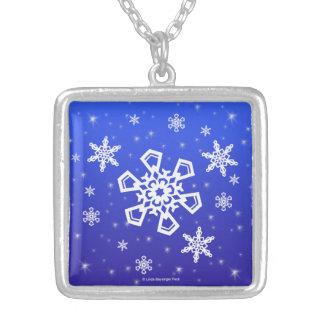 Snowflakes White on Blue Pendant