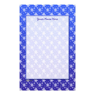 Snowflakes White on Blue Stationery