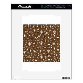 Snowflakes – White on Dark Brown NOOK Skins