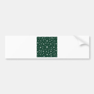 Snowflakes – White on Dark Green Car Bumper Sticker