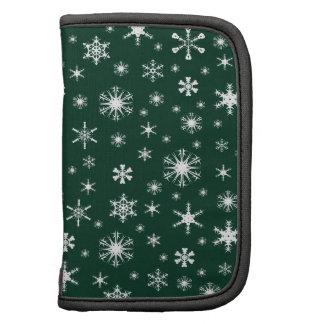 Snowflakes – White on Dark Green Planner