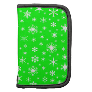 Snowflakes – White on Electric Green Planner