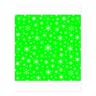Snowflakes – White on Electric Green Post Cards