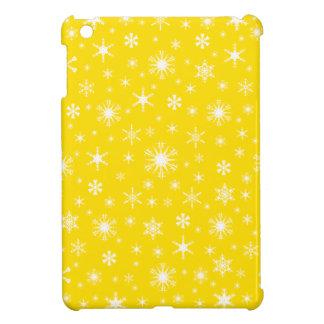 Snowflakes – White on Golden Yellow Case For The iPad Mini