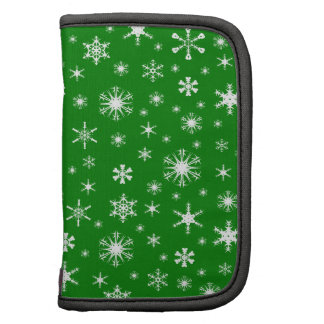 Snowflakes – White on Green Folio Planner