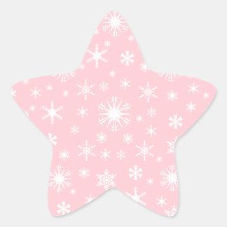 Snowflakes – White on Pink Star Sticker