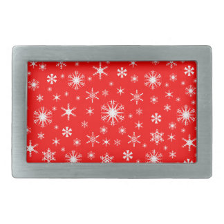 Snowflakes – White on Red Belt Buckle