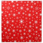 Snowflakes – White on Red Napkins