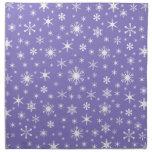 Snowflakes – White on Ube Napkin