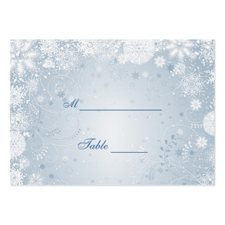 Snowflakes white silver blue Table Place card Large Business Cards (Pack Of 100)