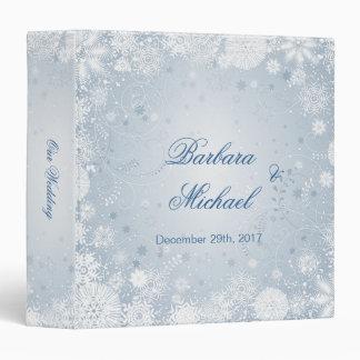 Snowflakes white silver blue Winter Wedding Binder